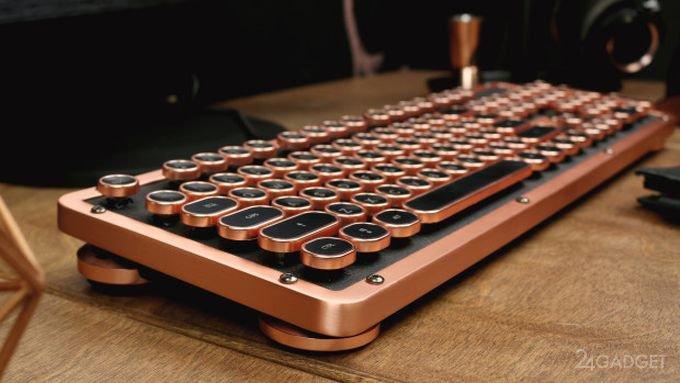 41069 Винтажная клавиатура с подсветкой и натуральной кожей (15 фото + видео)