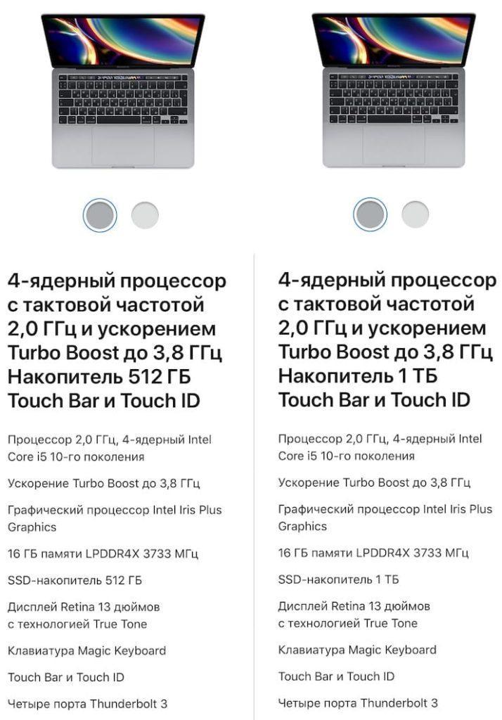 Цены MacBook Pro 13 2020