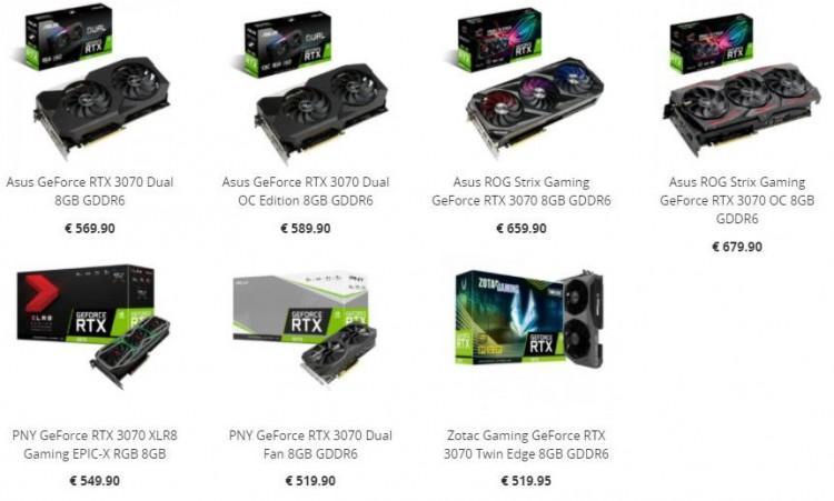 61618 Стали известны цены на карты NVIDIA GeForce RTX 3070